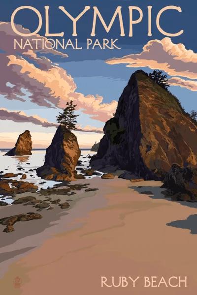 Olympic National Park Ruby Beach Canvas Art by Lantern Press  iCanvas