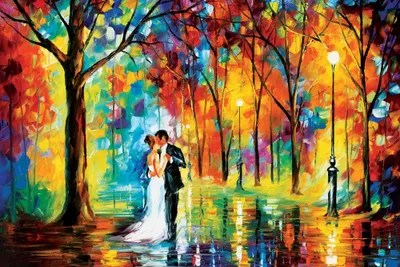 Fall In Love Couples Wallpapers Rainy Wedding Canvas Artwork By Leonid Afremov Icanvas