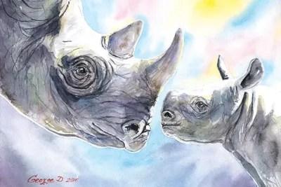 rhino family canvas wall