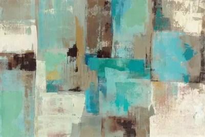 Teal And Aqua Reflections 2 Canvas Art Print By Silvia