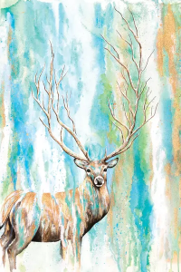 Deer Tree Canvas Artwork by Michelle Faber | iCanvas