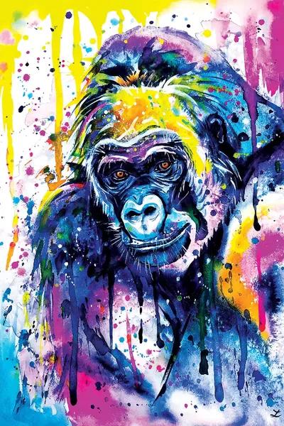 gorilla watercolor bright canvas