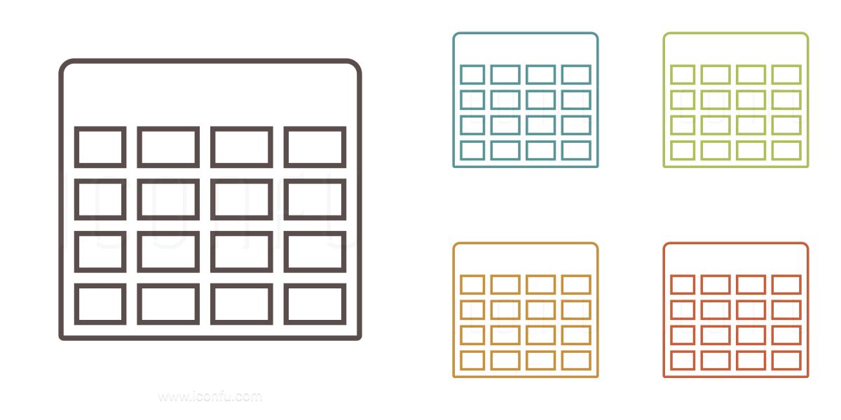Spreadsheet Icon - Outline Style - Iconfu
