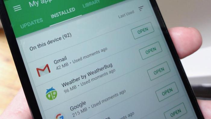 Application Play Store Applications les moins utilisées