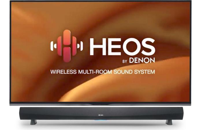 The HomeCinema sound bar ties in seamlessly with Denon's Heos streaming ecosystem.
