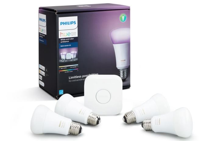 philips hue white color ambiance 4 pack starter kit box with product
