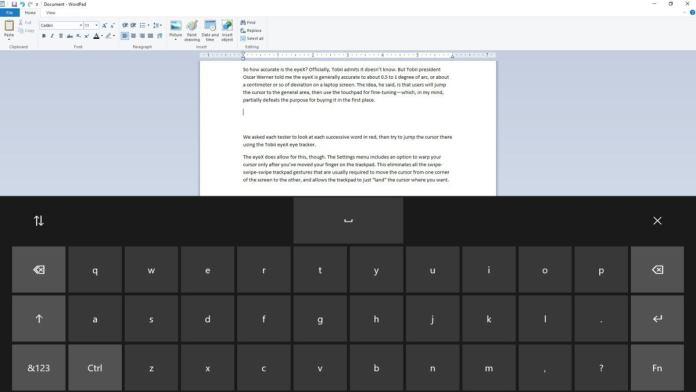 eye tracker eye control Microsoft Windows 10 Fall Creators Update