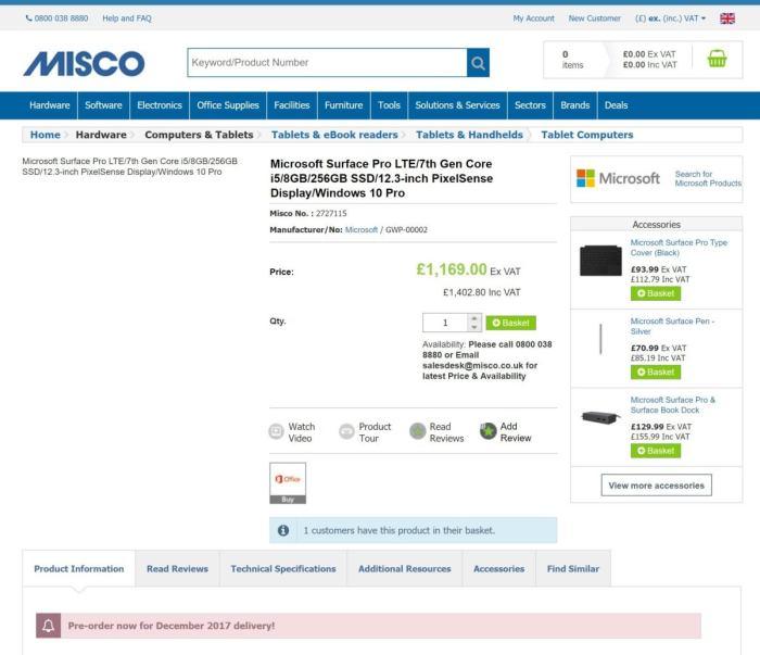 microsoft surface pro lte misco price
