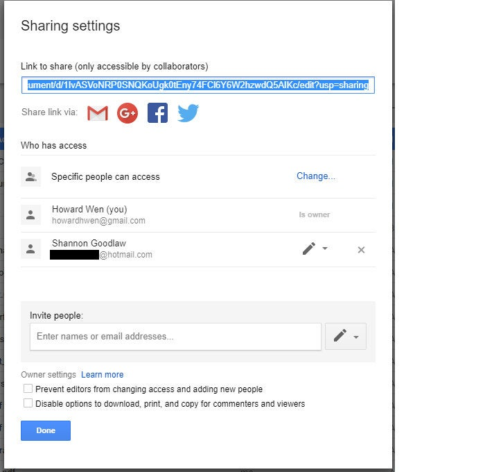 Google Drive collaboration - advanced sharing pane