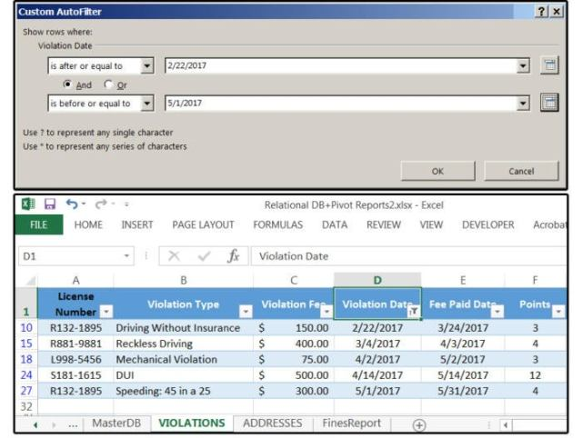 07 use the date filter between to extract a range of dates