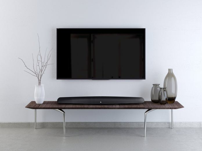 The M3 sound bar can be mounted on top of a table or inside a cabinet.
