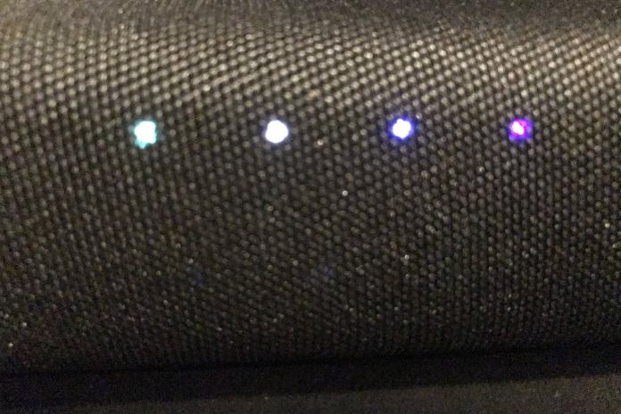 There are four LED lights on the front of the sound bar indicating different functions.