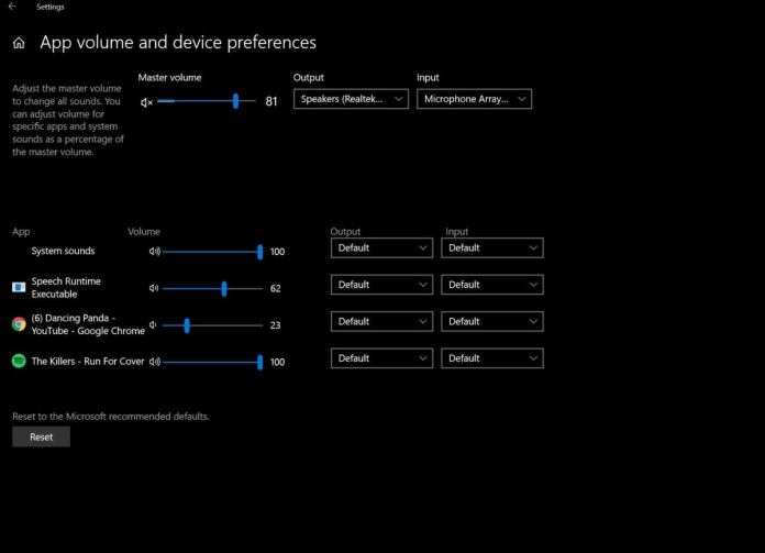 Microsoft Windows 10 Spring Creators Update audio settings