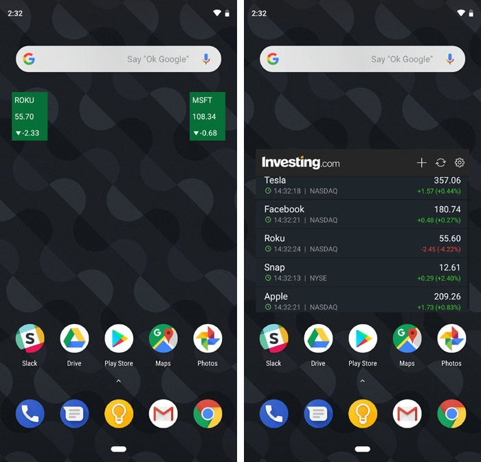 best Android widgets MSN Money Investing
