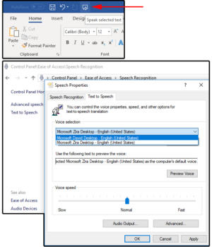 002 changes the speaking preferences in the Windows control panel
