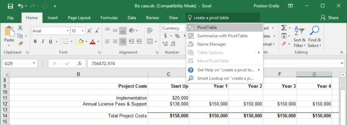 excel 2016 2019 tell me