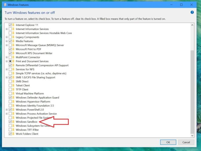 windows features arrow Windows Sandbox