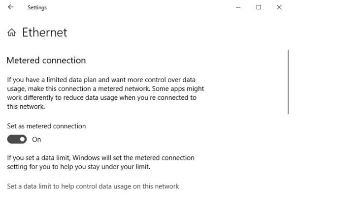 win10 1809 ethernet metered connection