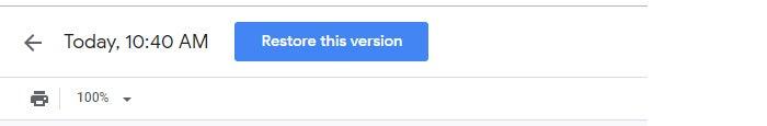 google drives collaboration restore version button