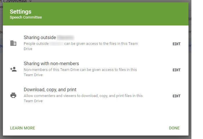 google drive collaboration team drives settings