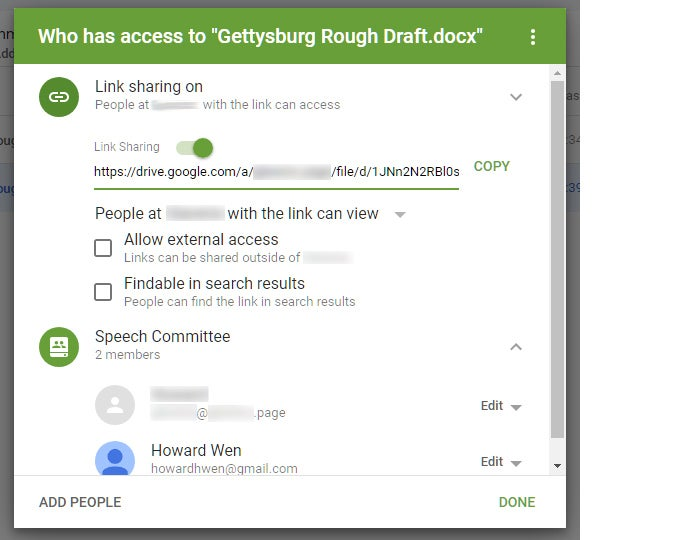 google drive collaboration team drives share link