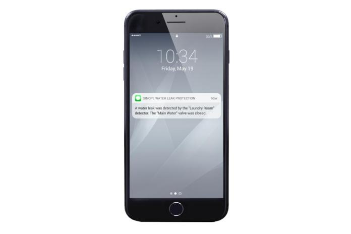 sms alert from smart water leak protection app