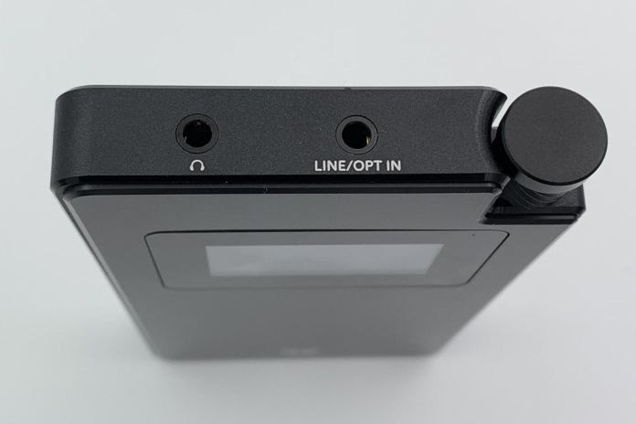 Detail view of the Monolith's top with 3.5mm input and headphone output.