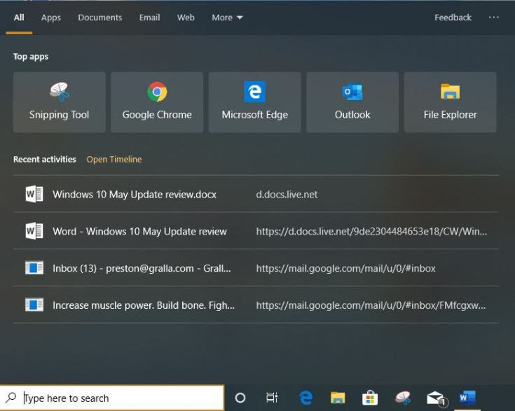 win10 v1903 review search start