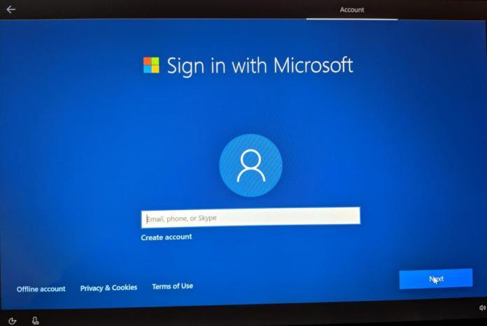 Windows 10 May 2019 Update OOBE account screen