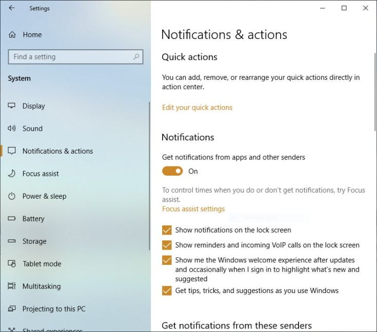 win10 settings notifications aug2019