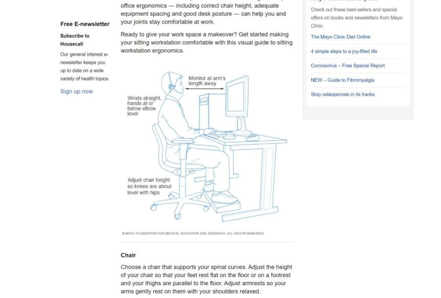 wfh mayo clinic ergonomics