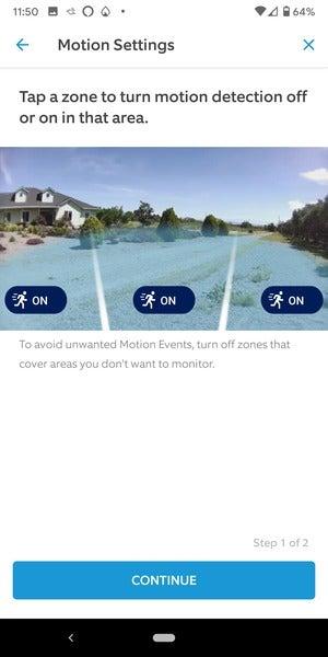 motion detection zones