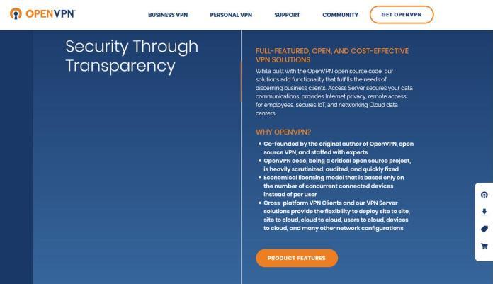 openvpn homepage screenshot