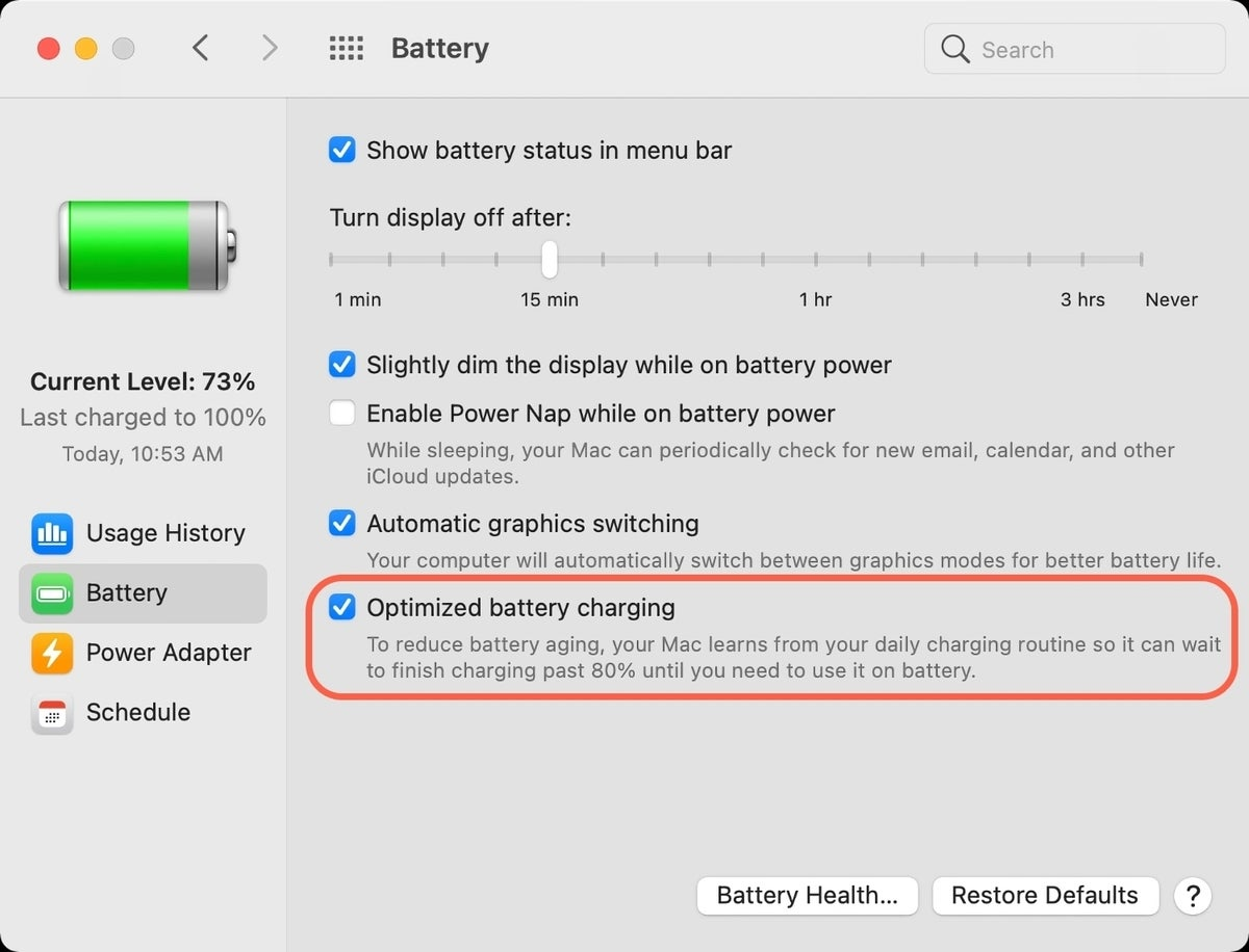 optimize the battery charging on the great