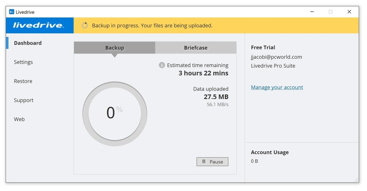 livedrive backup speed