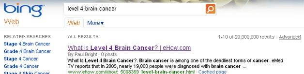 Bing Brain Cancer result