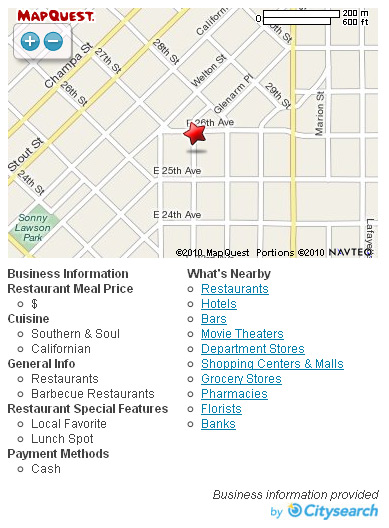 Citysearch listings on Mapquest