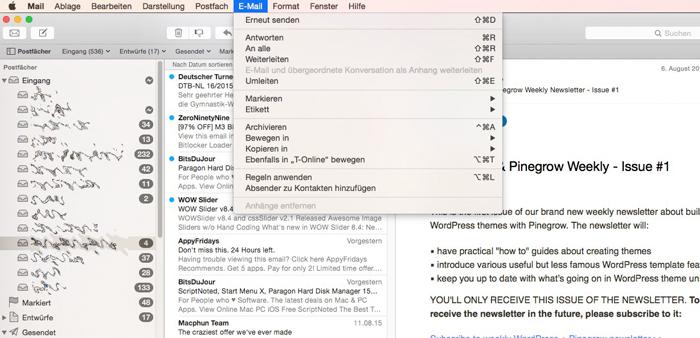 Kurztipp Apple Mail: Mit Tastenkombinationen schneller