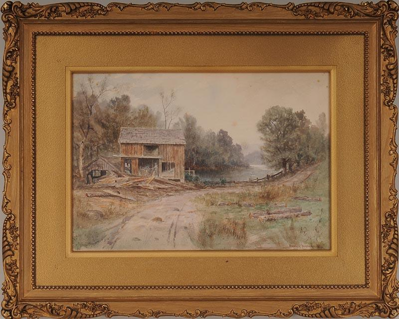 IGavel Auctions WEDWORTH WADSWORTH Barn By The Water Watercolor FR3SH