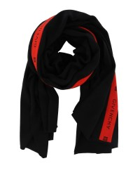 Givenchy - Logo detailed black and red wool scarf ...