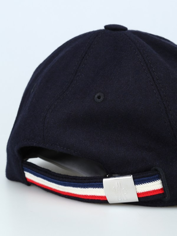 Moncler - Tricolour Detail Wool Baseball Cap Hats & Caps