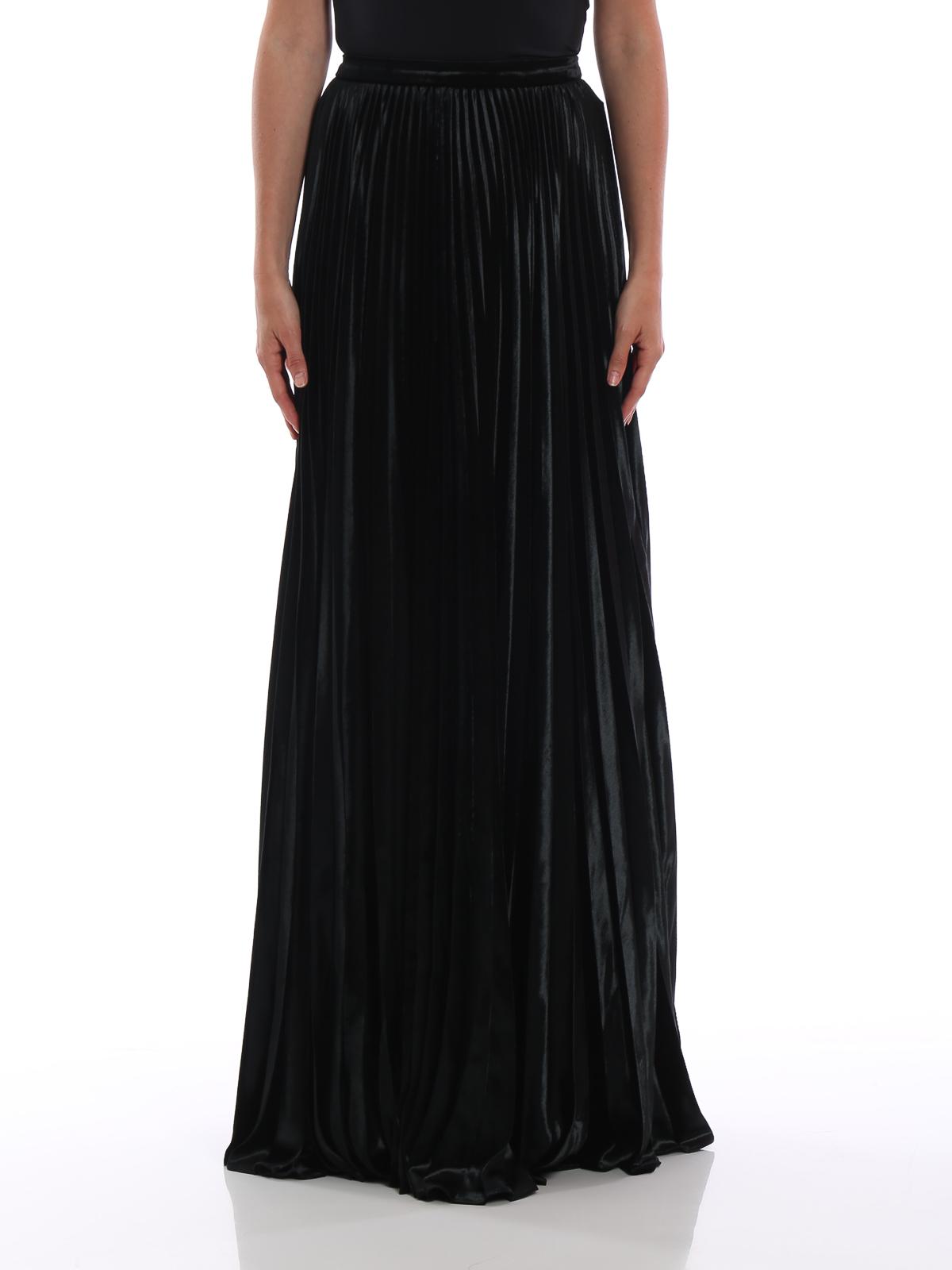 Saint Laurent  Floor length black velour pleated skirt