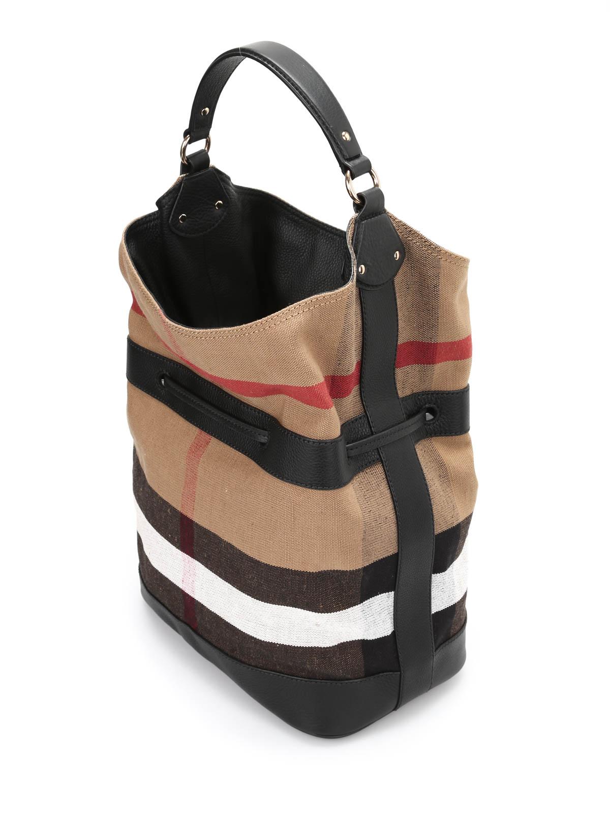Burberry - Large Ashby canvas bag - Bucket bags - 39978501   iKRIX.com