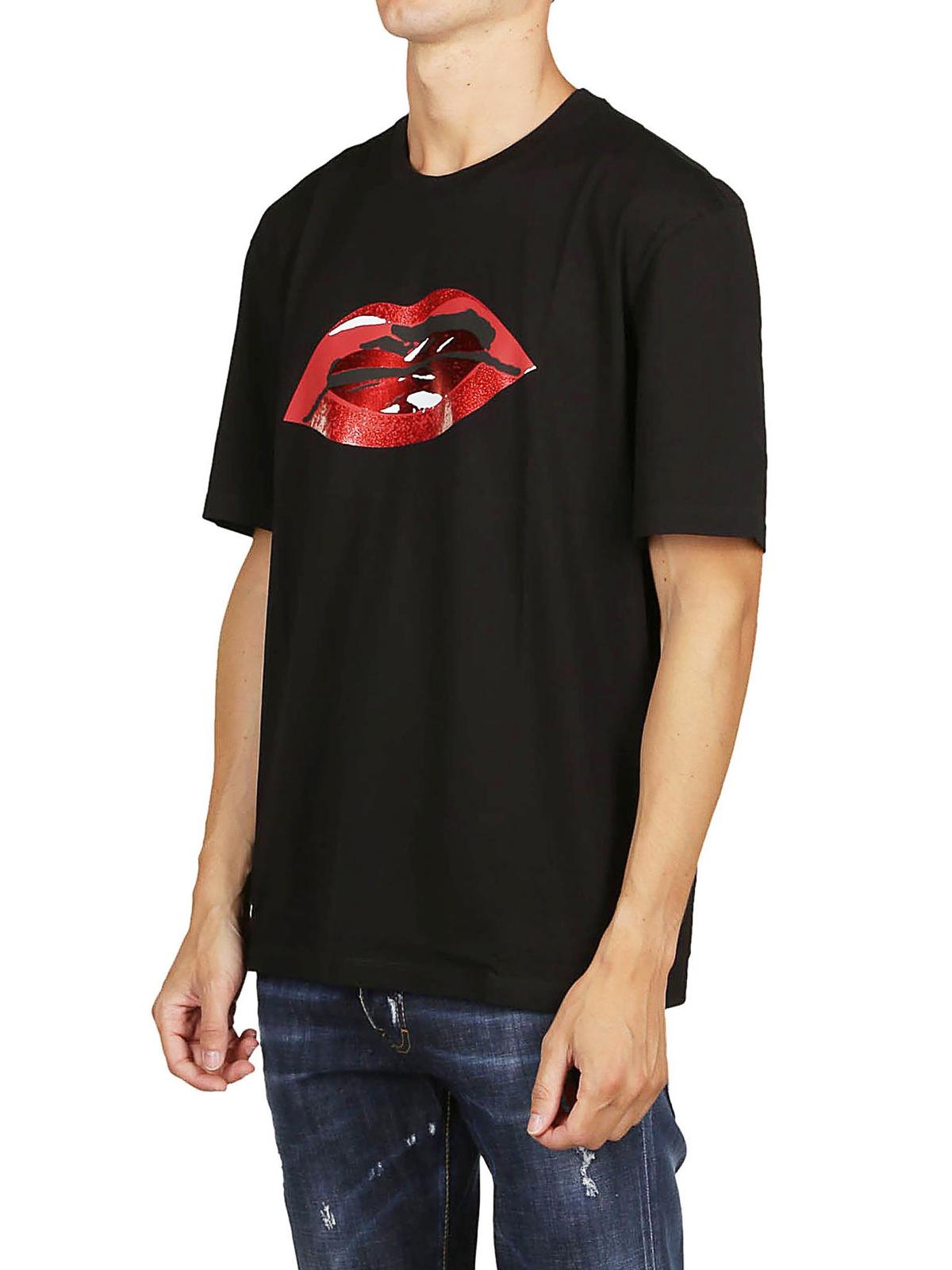 Maison Margiela Lips Print T Shirt T Shirts