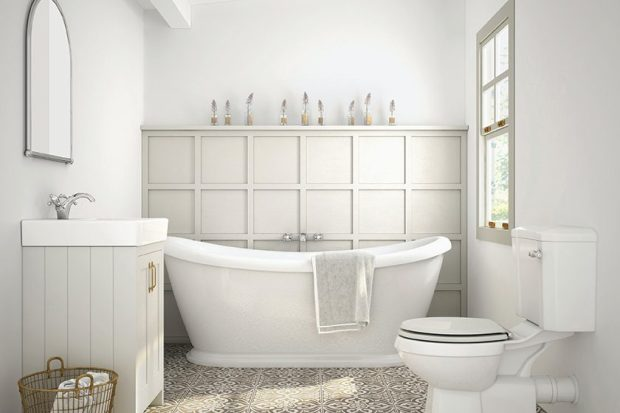Chatsworth Grey - Suite de baño con tapa enrollable, junta estrecha