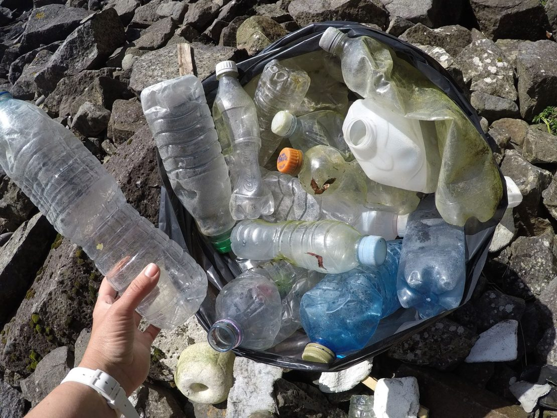 plastic bottles being collectd from a beach