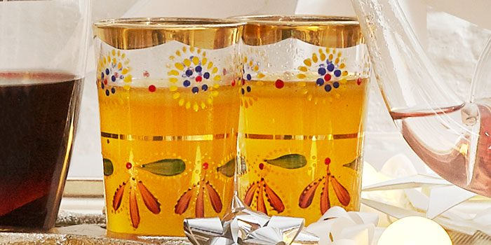 Buttered rum in glasses on trolley