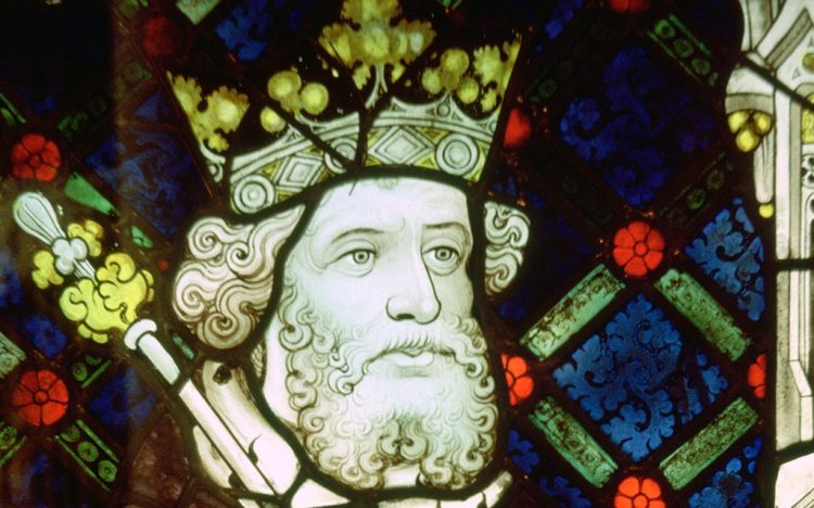 Stained glass image of King Cnut