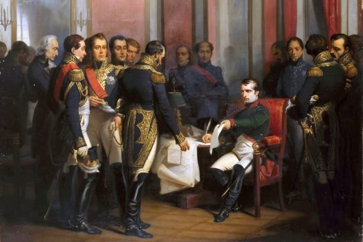 Napoleon abdicates at Fontainebleau in April 1814