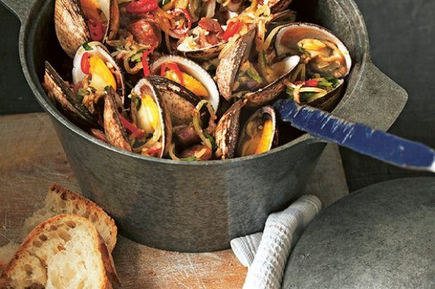 Clams in Cider Recipe with Smoked Bacon, Chorizo and Chilli